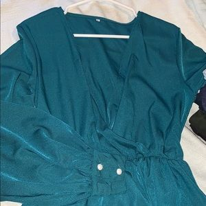 854a913db41 chic boho Dresses - V-neck Long Sleeves Belted Maxi Dress Teal GreenXL